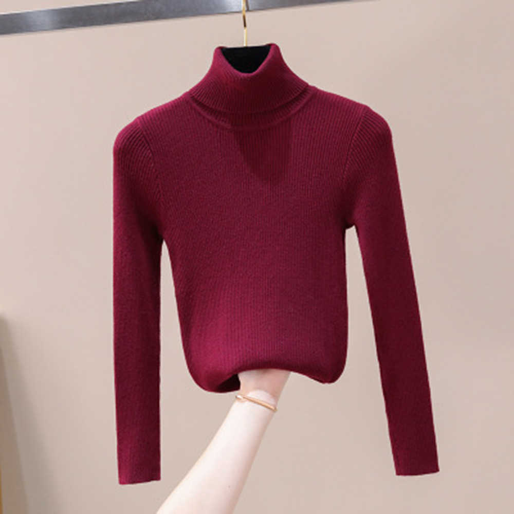Cysincos 2019 סתיו חורף נשים סרוגים גולף ארוך שרוול מוצק צבע Slim אלסטי נשי סוודרים