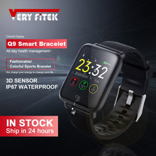 VERYFiTEK Q9 ضغط الدم مراقب معدل ضربات القلب ساعة ذكية IP67 مقاوم للماء الرياضة اللياقة البدنية تراكسر ساعة الرجال النساء Smartwatch