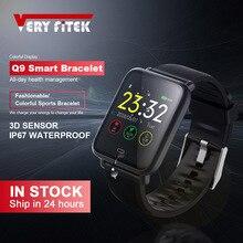 Veryfitek Q9 Bloeddruk Hartslagmeter Smart Horloge IP67 Waterdichte Sport Fitness Trakcer Horloge Mannen Vrouwen Smartwatch