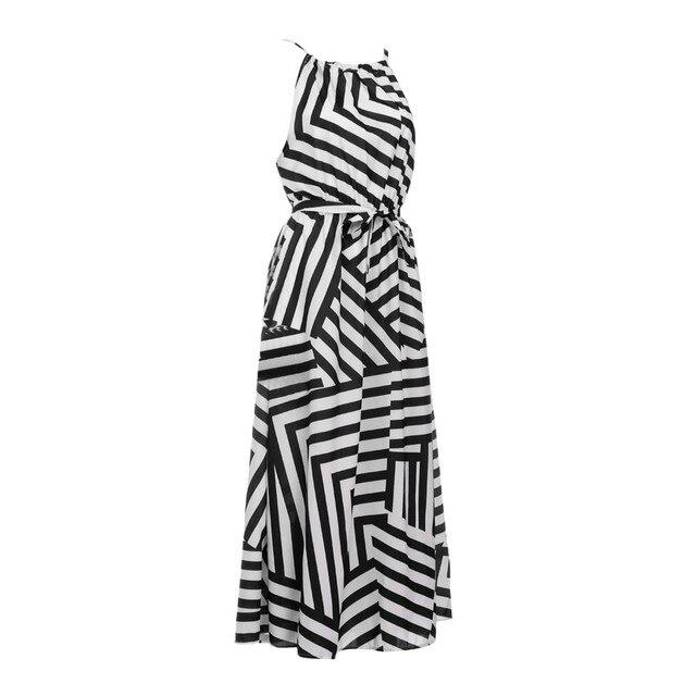 Summer Maxi Long Dress New Fashion Women Sexy Boho Striped Sleeveless Beach Style Strap Sundress Evening Party Beach Sundress 4