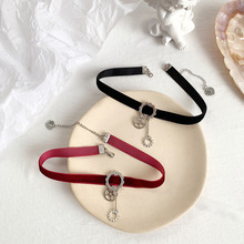 Retro punk metal gear pendant wine red blackcorduroy sexy necklace collar neck strap Cool Girl disco