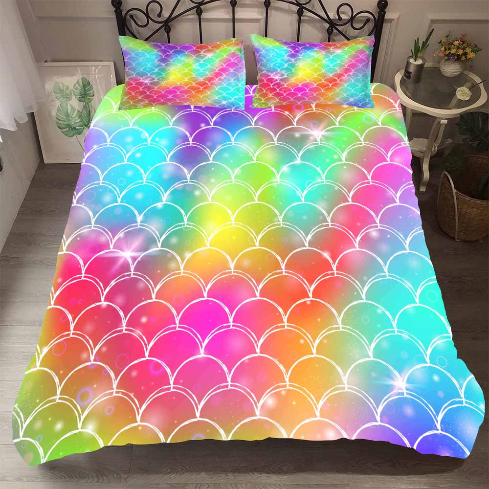 Colorful Fish Scales Bed Comforter Set Single King Duvet Cover Home Bedding Sets Boy Girl Bedroom Winter Quilt Cover Pillowcase