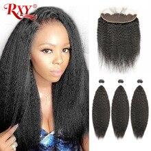 RXY mechones de cabello brasileño con mechones de cabello humano recto y rizado Frontal con 3 mechones de cierre con pelo Remy Frontal de encaje