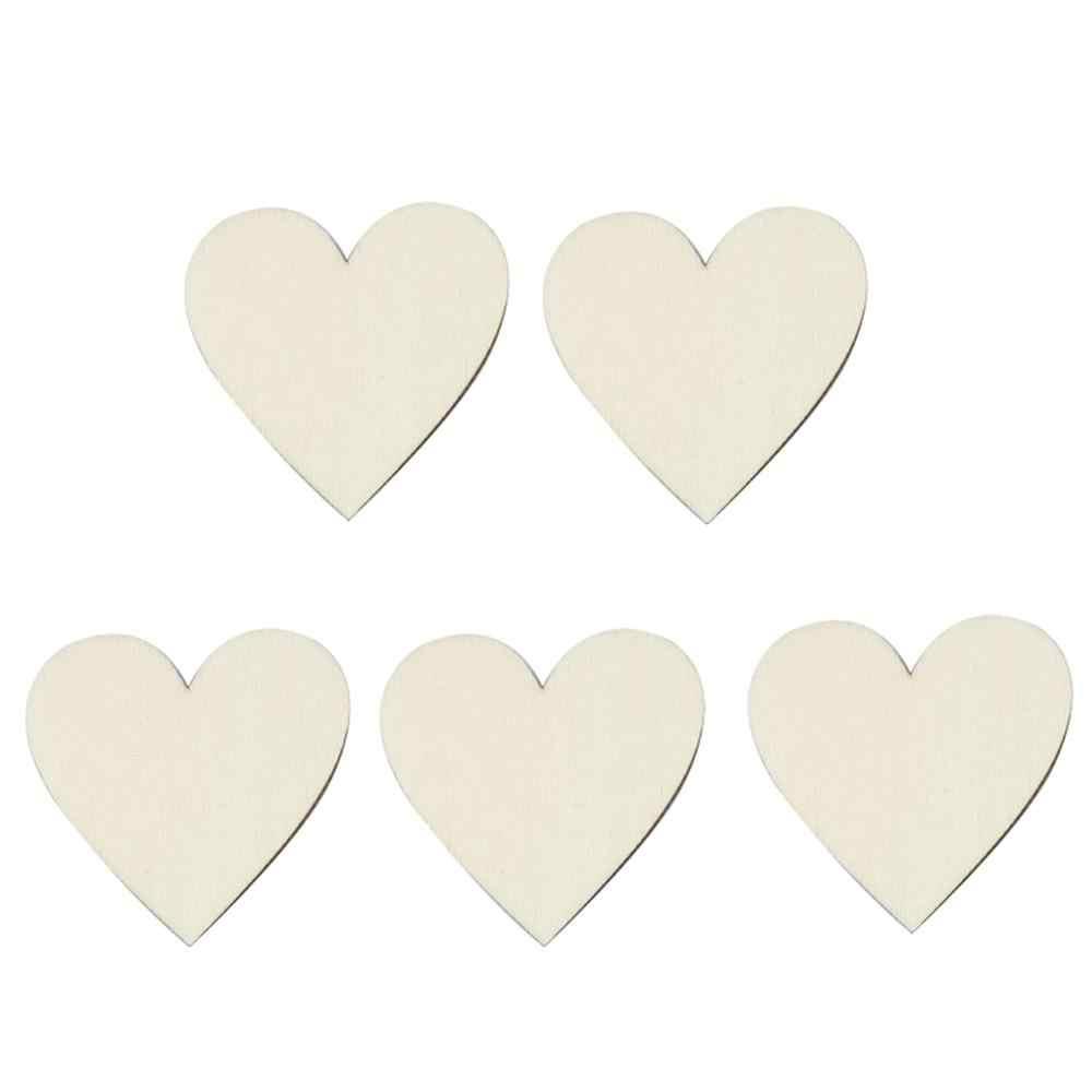 5/50 個 4 センチメートル/5 センチメートル木製愛のハート結婚式の装飾祭 Diy パーティーお祝い飾りクリエイティブ小道具バレンタインデーの装飾