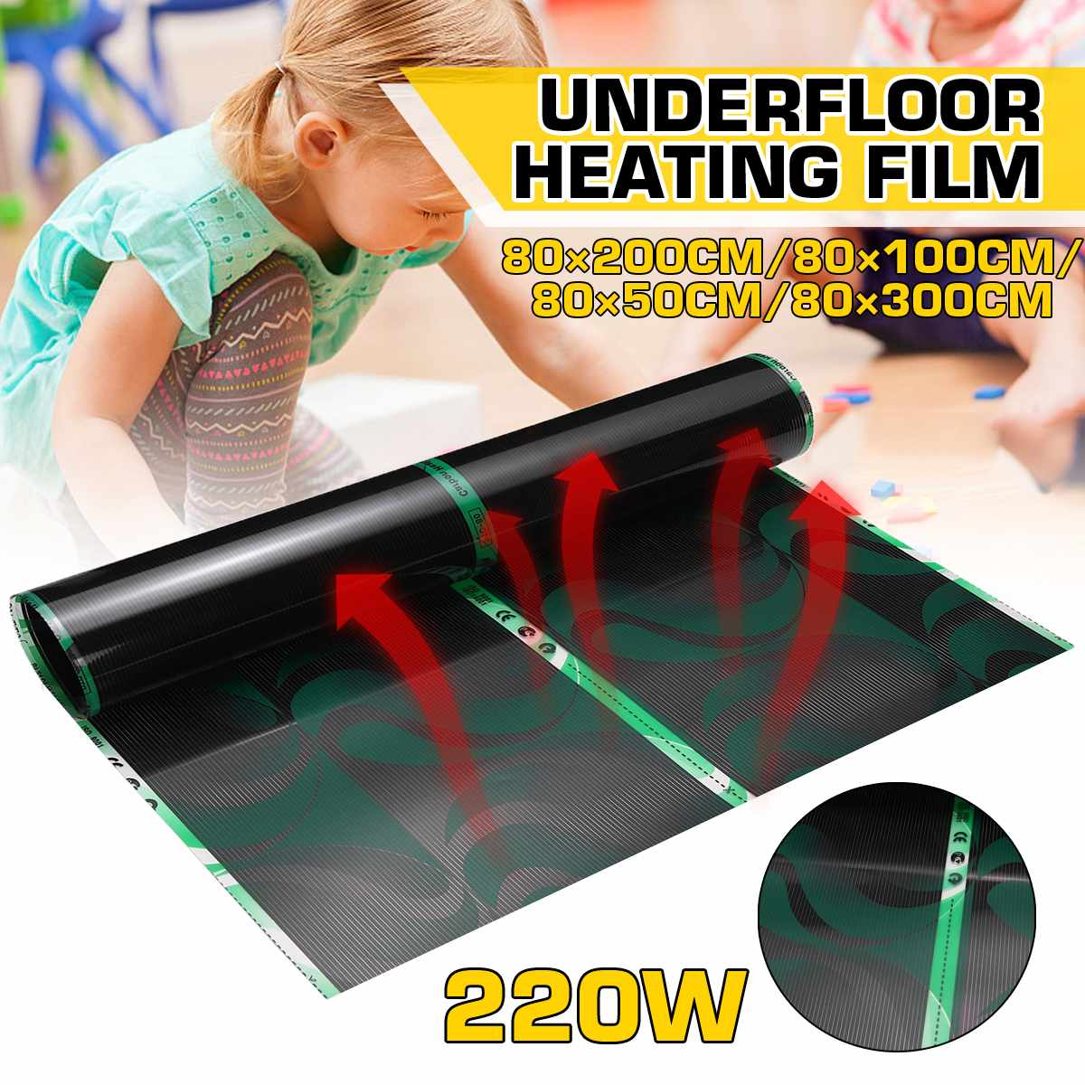 80cm Infrared Underfloor Foil Warming Mat Electric Heating Film 220V 220W Floor Heating Systems & Parts Living Room Warm Mat
