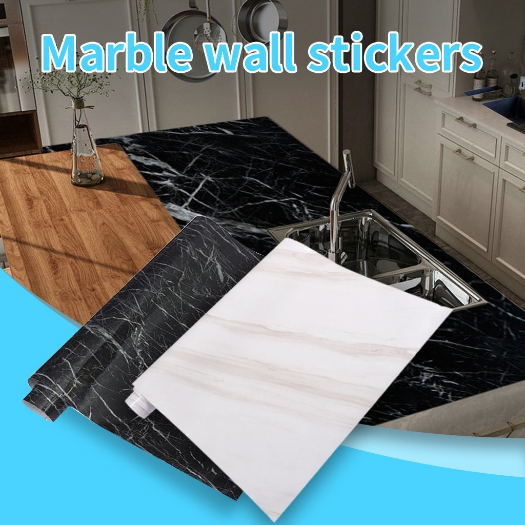 Marble Wall Stickers Wallpaper Oil Resistant Simulation Pattern Desk Cabinet Sticker Living Room Wall Decoration Wall Stickers Wall Stickers Aliexpress