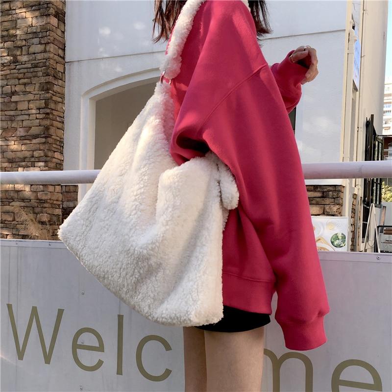 Sacs à main en laine dagneau pour femmes, sacs à épaule de styliste en peluche, bourses de luxe en fausse fourrure, fourre-tout de grande capacité, décontracté