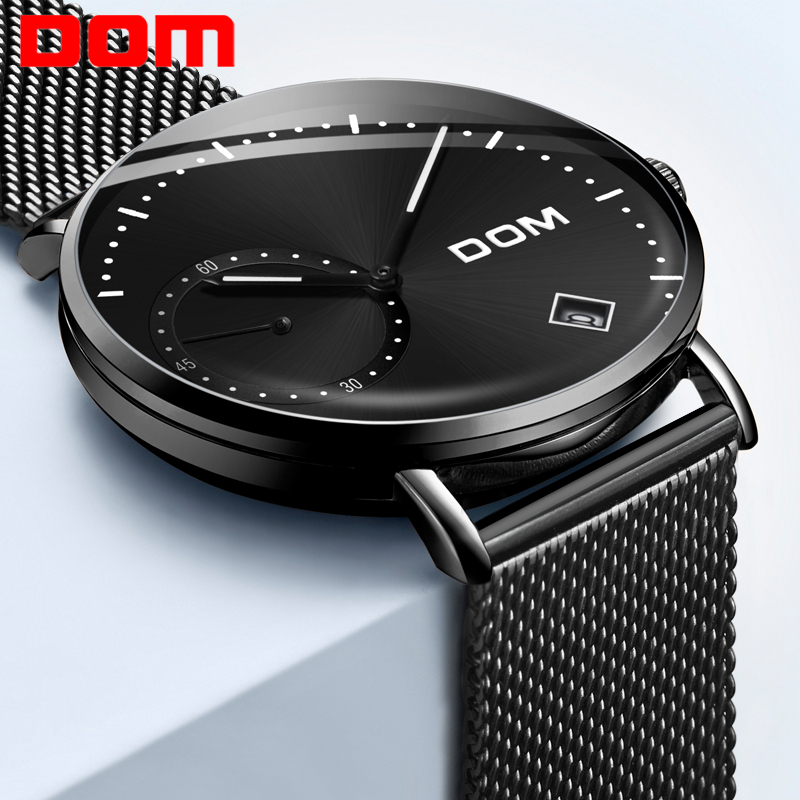 DOM Watch Men Luxury Business Gold Melt Steel Man Watch Waterproof Calendar Unique Fashion Casual Quartz Male Dress Clock M-302
