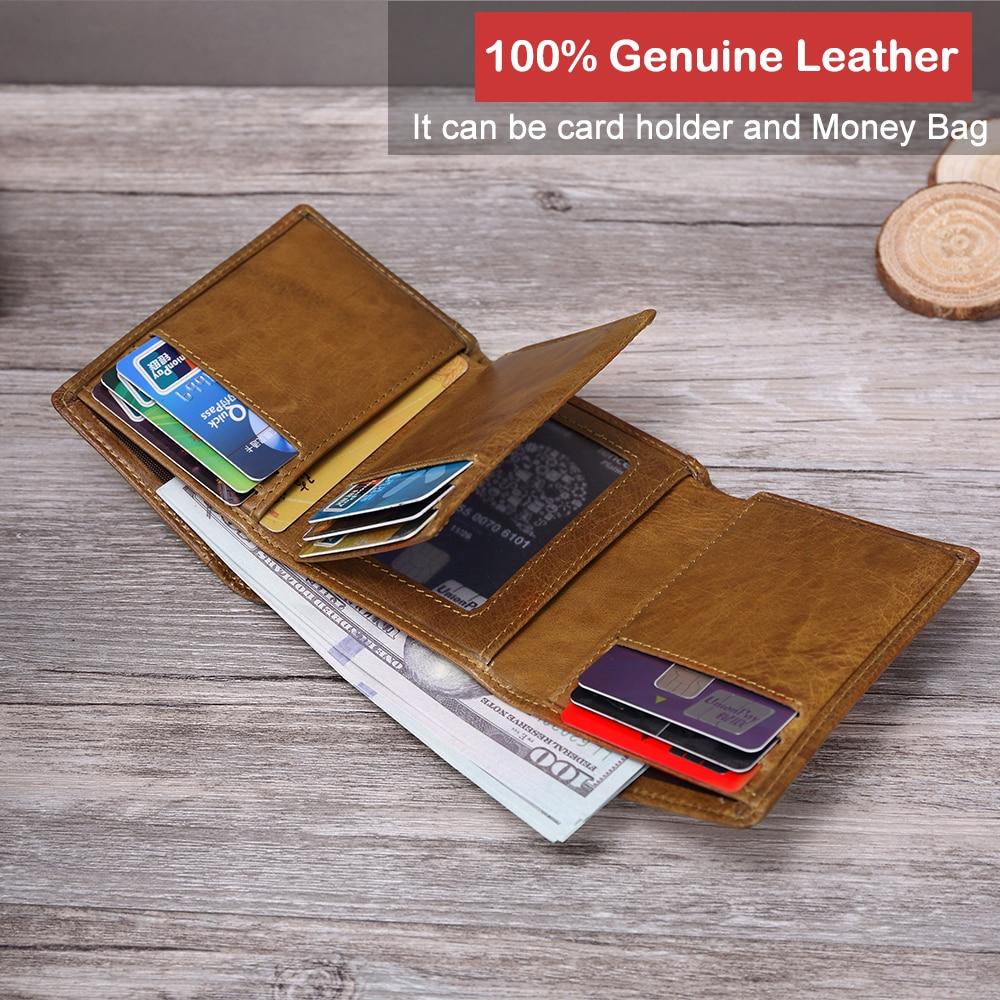 XDBOLO New Design Men Wallets Black Genuine Leather Purse For Men Business Card Holder Men's Wallet Zipper Trifold Wallet