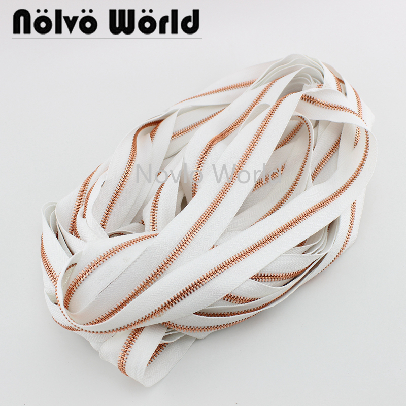 2 Yards Test, White Tape Color In Rose Gold Teeth High-grade 5# Metal Zipper For Wallet Purse Bag Sewing