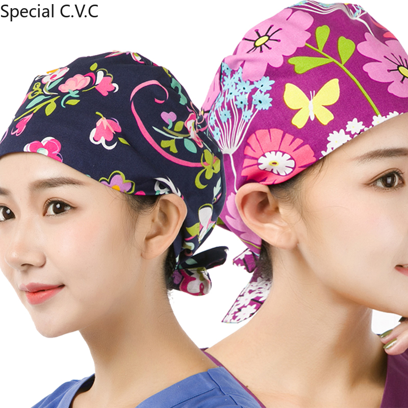 Flower Printed Scrub Caps For Women And Men Pure Cotton Nursing Hat Hospital Medical Adjustable Tieback Elastic Surgical Cap