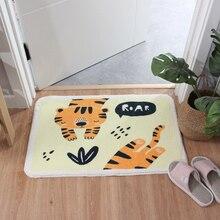 Cartoon Animal Shaggy Doormat Anti skid Latex Bottom Indoor Entrance Floor Mat Machine Wash  Kitchen Rug Bathroom Carpet