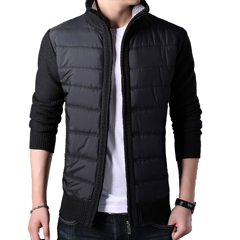 Men's Winter Fleece Warm Sweater Coat Fashion Patchwork Slim Knitted Cardigan Sweater Male Casual Pockets Outerwear Thick Jacket