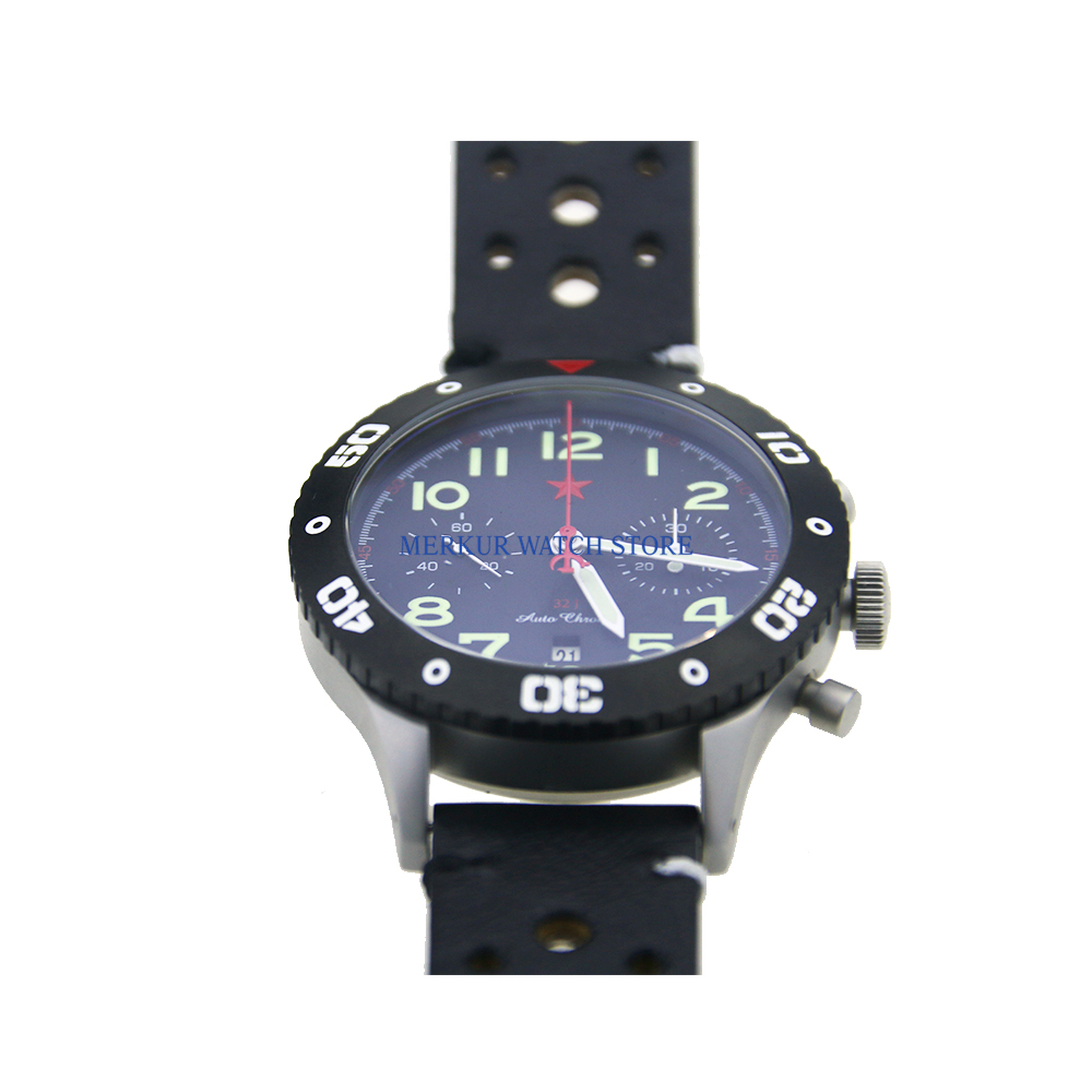 Sapphire Red Star Mechanical Chronograph Automatic Mens Pilot Watch Flieger B-UHR  Military