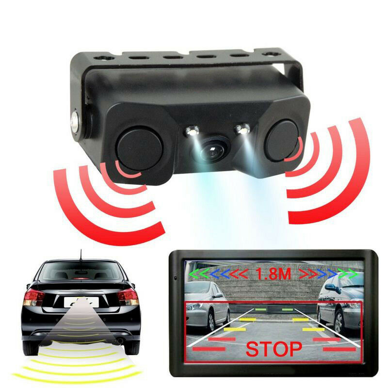 Car Auto Rear View Camera Parking Sensor Monitor 12V Reverse Backup Buzzer Rear View Camera With 2 Parking Line Sensors