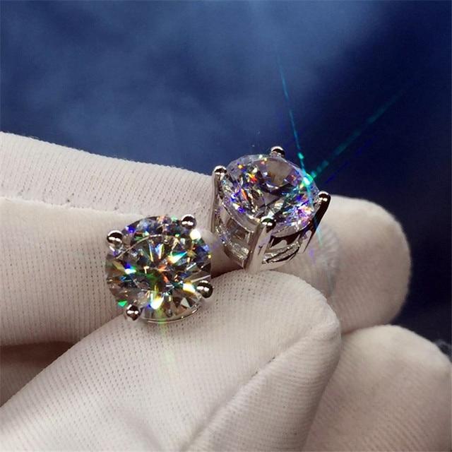 Trendy 5mm 9mm Lab Diamond Stud Earring 100 Real 925 sterling silver Jewelry Engagement Wedding Earrings.jpg 640x640 - Trendy 5mm/9mm Lab Diamond Stud Earring 100% Real 925 sterling silver Jewelry Engagement Wedding Earrings for Women men Bijou