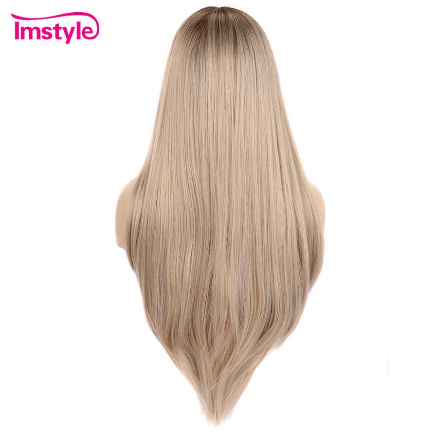 Imstyle Sarışın Uzun Sentetik Dantel ön peruk Düz Saç Peruk Kadınlar Için Doğal Koyu Kök Saç Çizgisi Isıya Dayanıklı Fiber