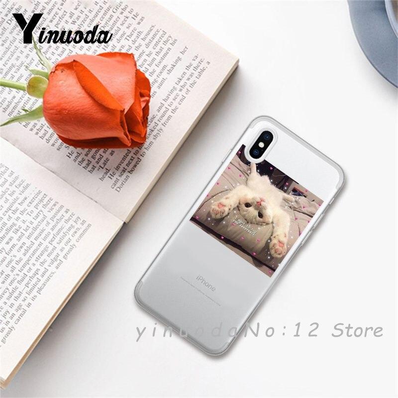 Yinuoda супер милый кот собака мультфильм розовый в форме сердца ты и я серия HD Прозрачный чехол для телефона для iphone 6 7 8 Plus X XS XSMax 5S