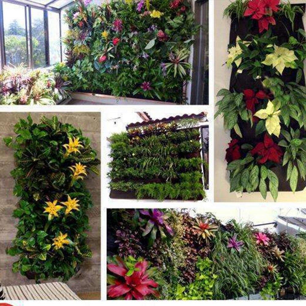 Купить с кэшбэком 2-7 Pockets Bags Planter Vertical-Vegetable-Garden-Supplies Wall-Hanging Green Black Planting-Growth Vertical Garden
