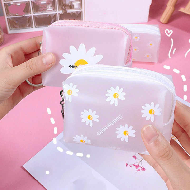 Creative Daisy Transparent Girls Coin Purse Children PVC Zipper Change Purse Women Mini Lipstick Wallet Flamingos Key Card Bag