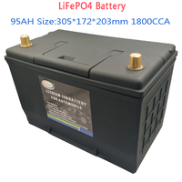 95AH 95D31L/R LiFePO4 Battery Automobile Battery 12V Lithium Phosphate ion 1800CCA Size 305*172*203mm LiFePo4 Auto Car Battery