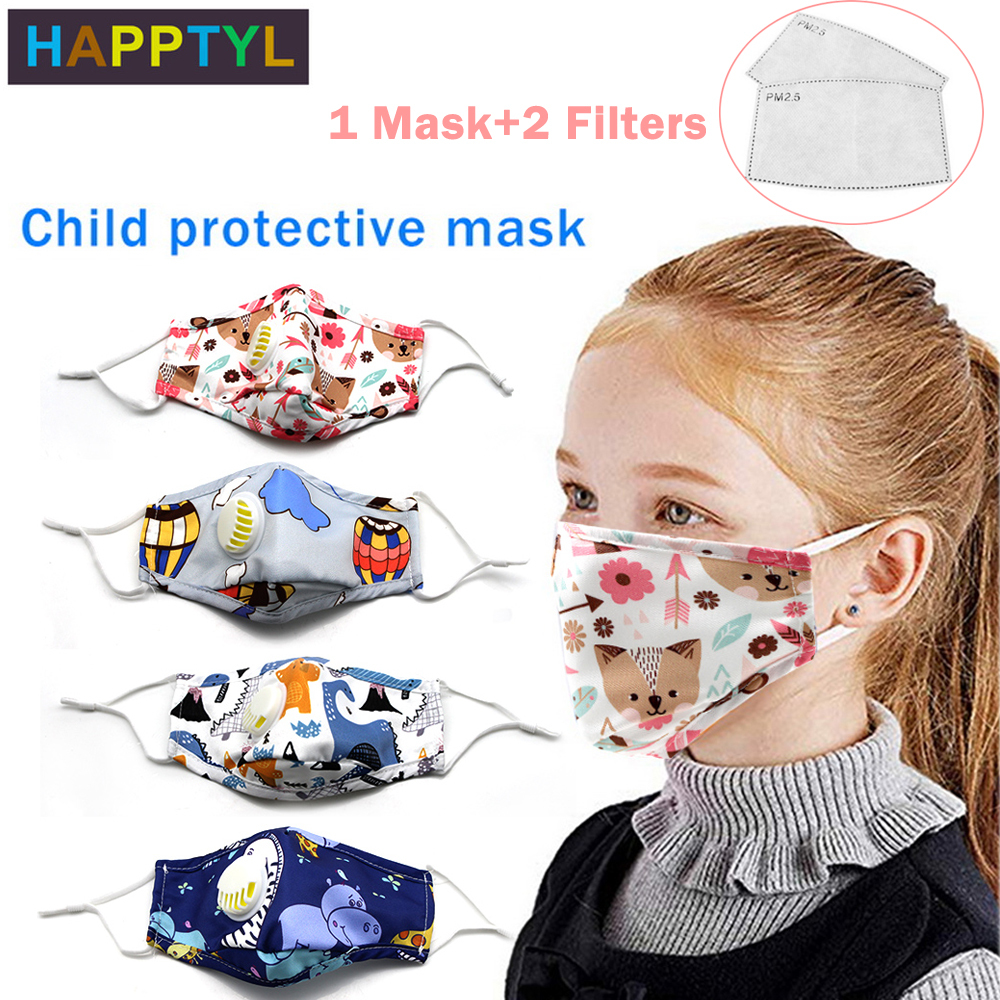 Children Mouth Mask With Breath Valve Replaceable Filter Anti Dust Mouth Mask PM2.5 Respirator Kid Face Mask Fits 2-12 Years Old