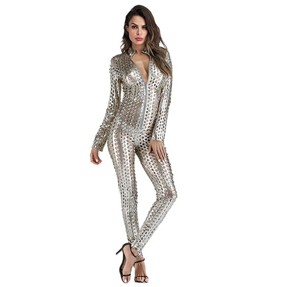 Комбинезон из искусственной кожи для женщин-кошек, блестящий черный, золотой, серебряный, металлический кожаный комбинезон, купальник из искусственной кожи, боди, ночная Клубная одежда