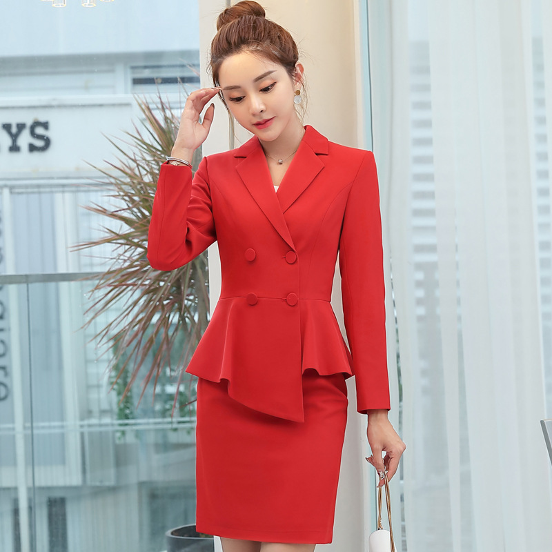 High quality professional women's suit pants suit Irregular ruffled slim size large office blazer Skirt suit red Two-piece set