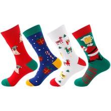 Christmas Happy Socks New Funny Casual Cartoon Santa Claus Christmas Cane Dog Snowflake Pattern Cotton Socks Unisex snowflake funny christmas hoodie