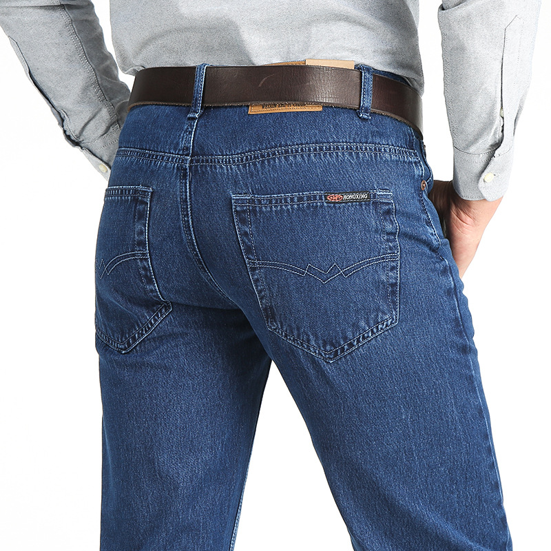 Business Man Long Jeans Straight Casual Blue Lightweight Denim Pants Summer Hot Sale New Classic Thin Cheap Workmen Pants HLX166