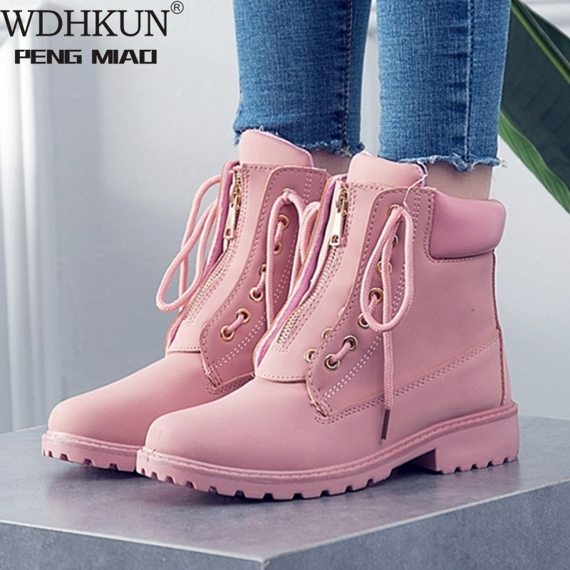 Autumn Winter Women Boots Trend Zipper Deisgn PU Leather Shoes Ladies Ankle Boots Large-size 42 Pink Woman Boot botas mujer