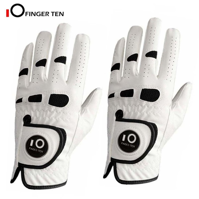 2 Pack Premium PU Leather Men's Golf Gloves with Ball Marker Cabretta Left Right Hand All Weather Grip Breathable 1