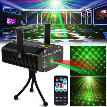 Club DJ Disco Light Christmas Laser Projector Stage Light Green Red Voice Control Party Lamp with Remote for Christmas Wedding tiptop tp e36 professional club dj disco projector stage laser light party green red voice control 20w shaking glass laser beam