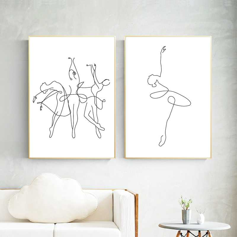 Abstract Ballerina Print One Line Body Drawing Art Canvas Painting Black White Artwork Picture Dance Poster Girl Room Wall Decor