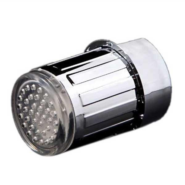 Grifo de agua de luz LED de 3 colores que brillan en la cocina grifo de cascada Sensor de temperatura con adaptador