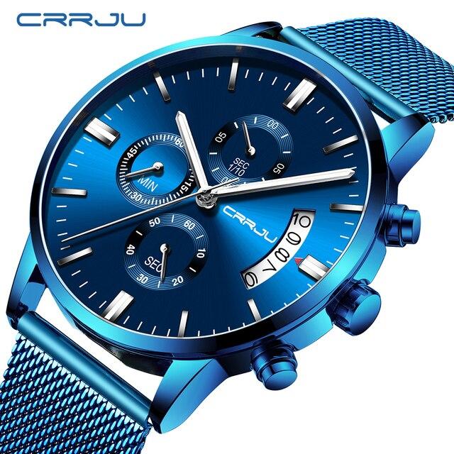 Relogio Masculino CRRJU جديد العلامة التجارية الفاخرة ساعة الذكور موضة ساعة كورتز العارضة الرجال الفولاذ المقاوم للصدأ الأزرق مقاوم للماء ساعة
