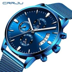 Image 1 - Relogio masculino crrju 새로운 최고 브랜드 럭셔리 시계 남성 패션 캐주얼 쿼츠 시계 남성 스테인레스 스틸 블루 방수 시계