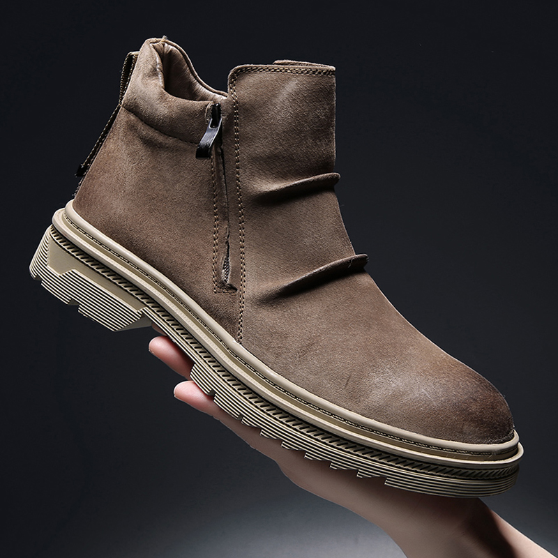 Fashion Winter Men Chelsea Boots Brown Slip-On Cow Leather Trend Man Leisure Ankle Boots Brown High Top Casual Shoes