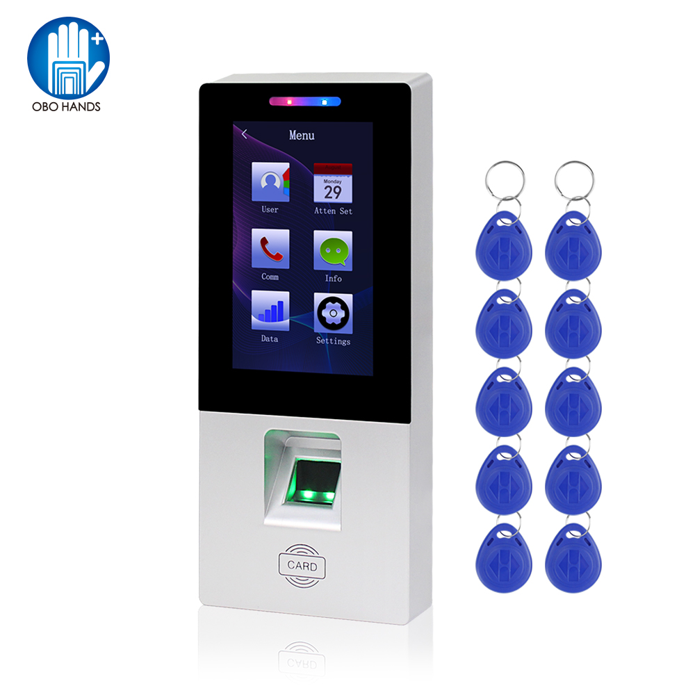 Touch RFID Access Control Keypad Card Reader USB Fingerprint Biometric Password Time Attendance Machine System + 10pcs Keyfobs