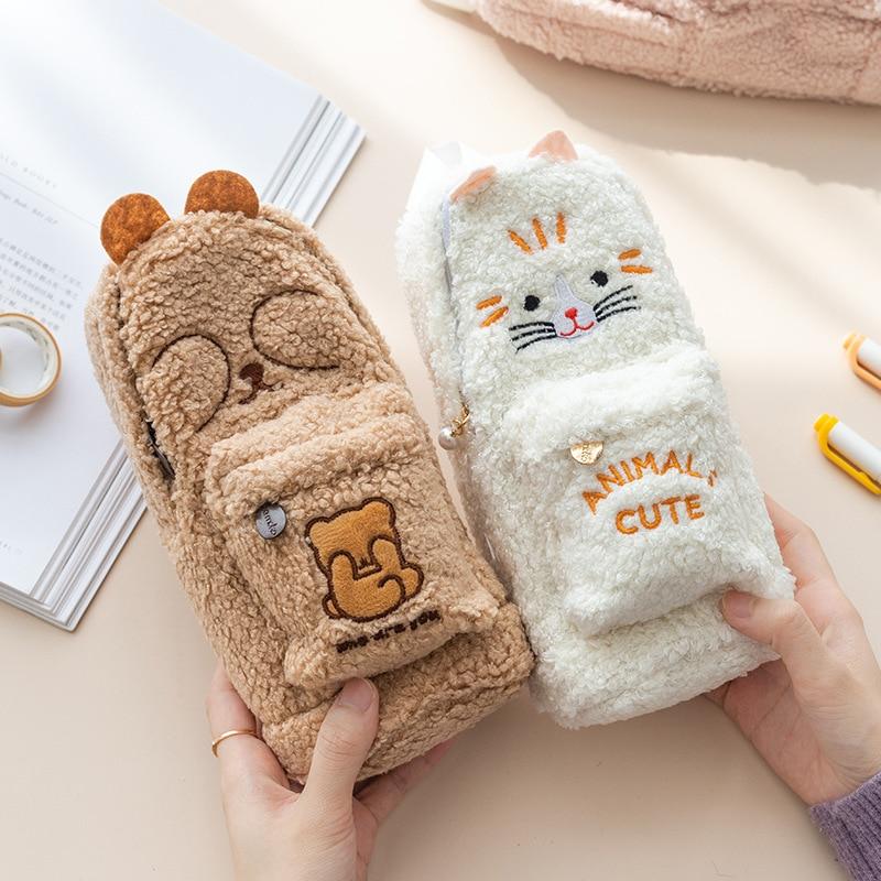Большой плюшевый пенал с милыми животными, милый кролик, кошка, настольная сумка-Органайзер, сумки для хранения, детский чехол для ручки, шко...
