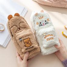 Bonito animal kawaii coelho gato de pelúcia grande capacidade saco de lápis organizador de mesa sacos de armazenamento crianças caneta caso de papelaria escolar casos