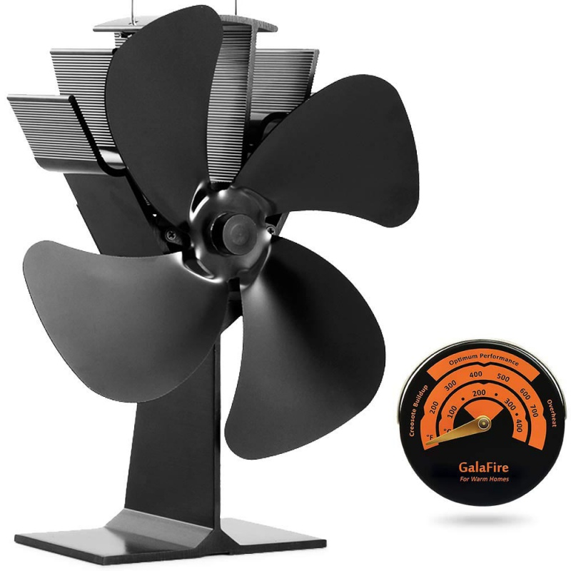 4-Blade Hot Air Stove Fan Eco-Friendly Silent Fan Black Fireplace Log Burner Efficient Heat Distribution