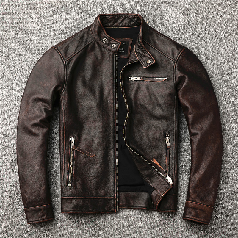 Classic Motor Style Vintage Genuine Jacket Fashion Men Brown Leather Street Biker Coat Sales