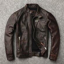Classic Motor Style Vintage Genuine Jacket Fashion Men Brown Leather Street Bike