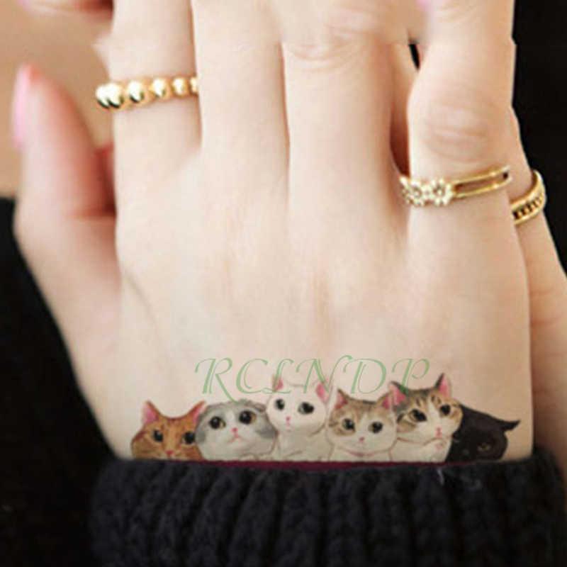 방수 임시 문신 스티커 유방 귀여운 고양이 키티 문신 스티커 플래시 문신 가짜 문신 tatouage 여자 여자 아이를위한