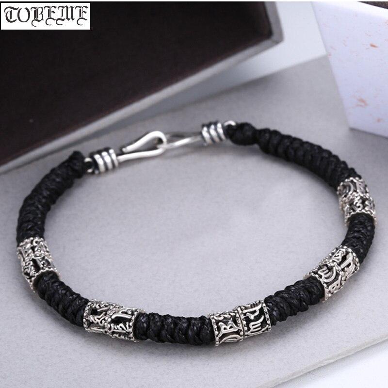 Fait à la main 925 argent tibétain perles Bracelet en argent massif tibétain Six mots proverbe perlé Bracelet bonne chance tressé Bracelet