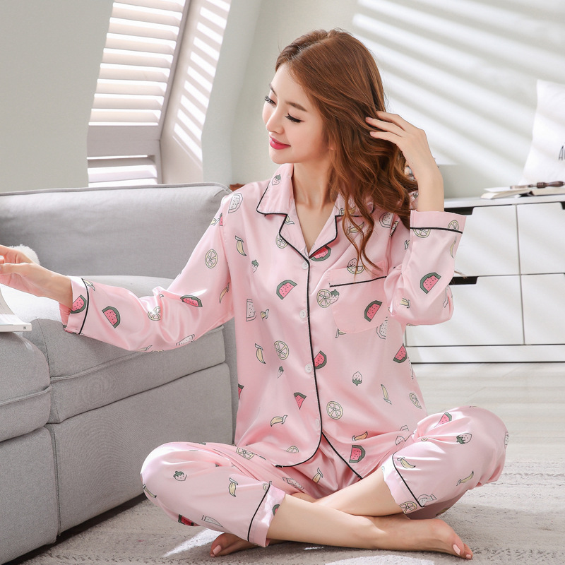 Pajamas Women's Spring And Autumn Silk Sexy Summer Long Sleeve Thin Large Size Tracksuit Piece Imitated Silk Fabric Large Size S