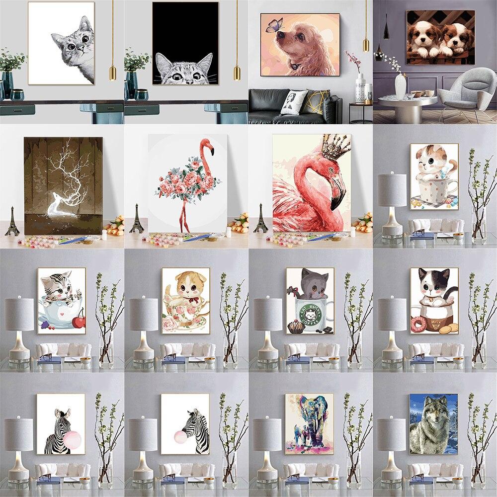 Numbrite järgi maalimiskomplekt erinevad loomade pildid 24 erinevat varianti