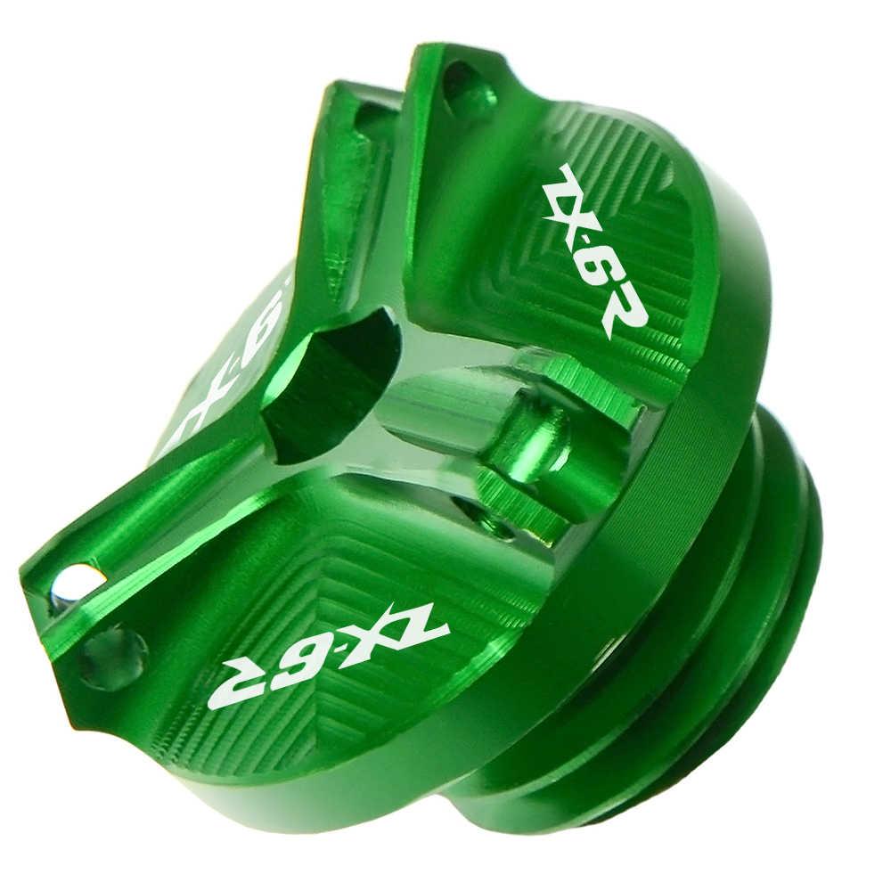รถจักรยานยนต์ CNC อลูมิเนียม ZX6R โลโก้ M20 * 2.5 CNC เครื่องยนต์กรองน้ำมันถ้วยปลั๊กสกรูสำหรับ KAWASAKI ZX-6R 2004 2003 2005 2007 2008