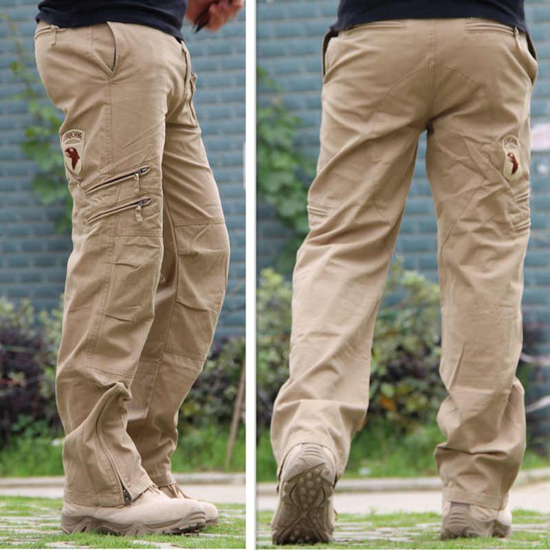 Pantalones Cargo para hombre, pantalones tácticos de estilo militar, pantalones para hombre de talla grande de algodón, pantalones negros de camuflaje con muchos bolsillos para hombre
